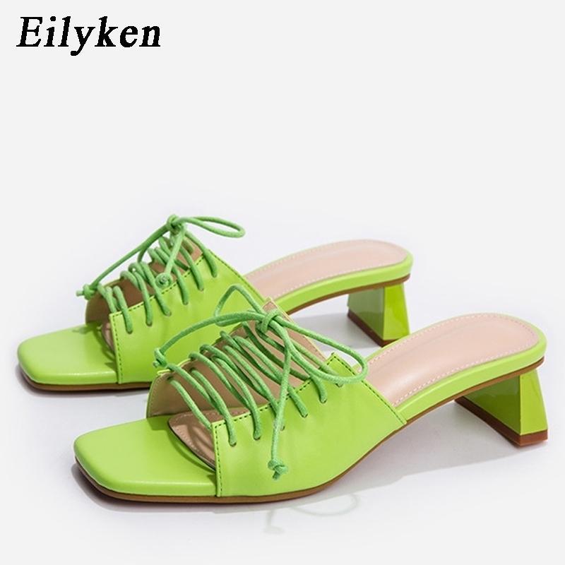 ELYKEN New Women Women Slides Slides Aberto Baixo Salto Alto Saltos Sapatos Sandália Lazer Do Lazer Ankle Lace-up Outdoor Casa Sapatos Y200423