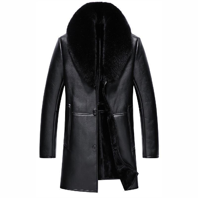 2020 inverno homens velo jaqueta de couro pu mais veludo quente macho jaquetas de couro faux moda colar de pele
