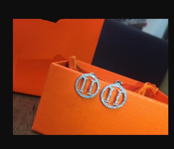 Fashion- Chic de luxe de luxe bijoux femmes boucles d'oreilles H Silver Designer des boucles d'oreilles pour les boucles d'oreilles de concepteur de fiançailles de mariage