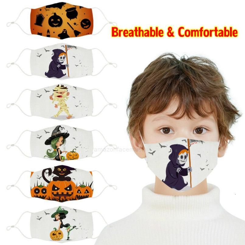 Party In Masks Stock Kids 3D Halloween Printed Pumpkin Witch Ghost Pattern Children Face Mask Washable Reusable Cotton MXHX1ZY