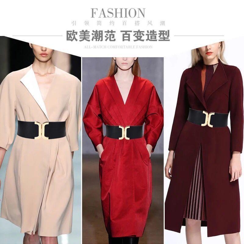 Women's Waistband é simples versátil, com decoração de camisa de saia, terno elástico, largura e cinto de cintura