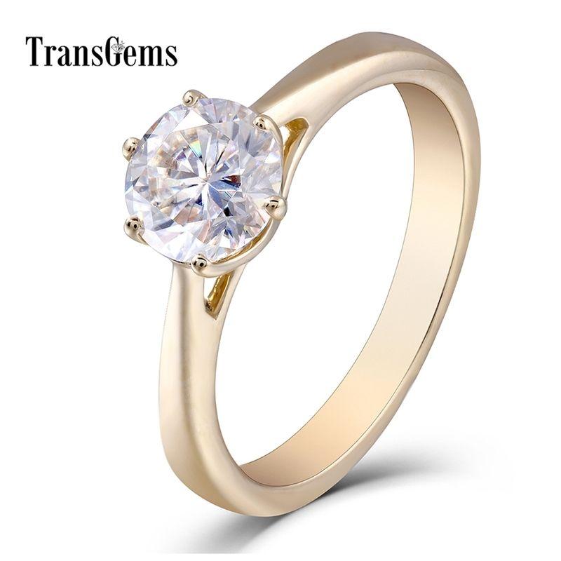 Transgemes 10K желтое золото 1.0 CT GH Color Moissanite Имитация бриллиантового обручального кольца свадебные подарки изысканные украшения для женщин Y200620