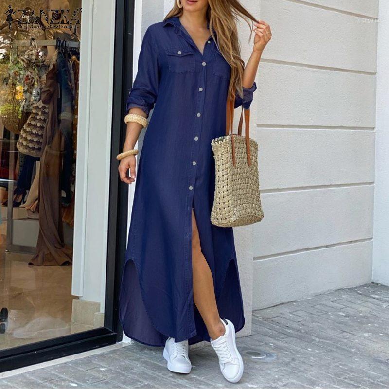 Zanzea Mulheres Long Maxi Vestido Casual Botões Sólidos Down Long Shirts Vestidos Vestidos Algodão Roupa de Sundress Lapela Pescoço Praia Vestidos1
