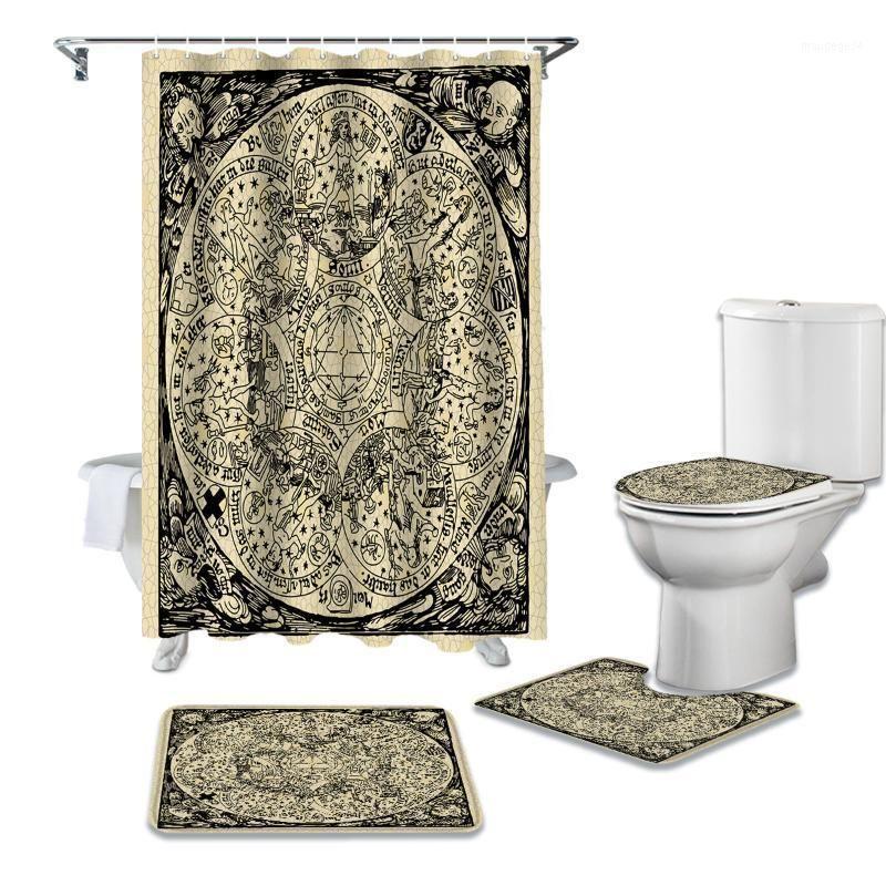 Rideau de douche d'astrologie rétro kraft de papier kraft Ensembles de rideaux de couvercle de couvercle de toilette antidérapant et de baignoire Rideaux de salle de bain imperméables1