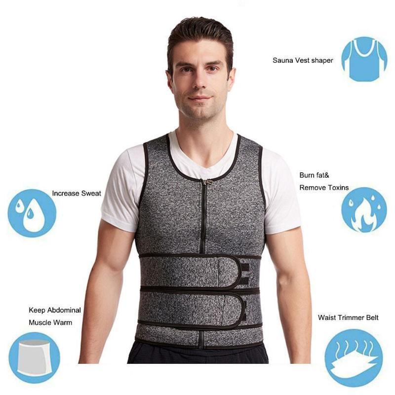 Men's Double Waist Belt Vest Shapewear Reinforced Sweat Waist Belt Rubber Abdomen Sports Tunic Corset G2U6