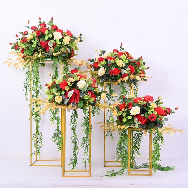 Qifu Metall Künstliche Blume Pflanzständer Seide Rose Pfingstrose Hortensie Hochzeit Mittelstücke Rack Tür Dekor Gefälschte Blumen Bouquet1