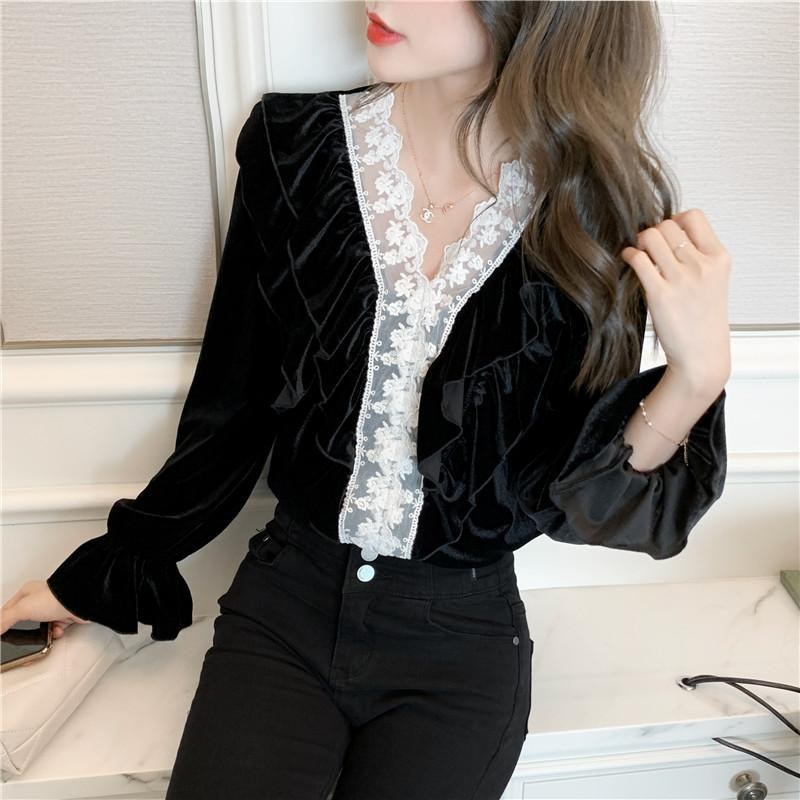 Черная бархатная блузка с длинным рукавом оборками кружева пэчворк осенью топы элегантные v шеи тонкие женщины блузки офисные дамы винтажная рубашка