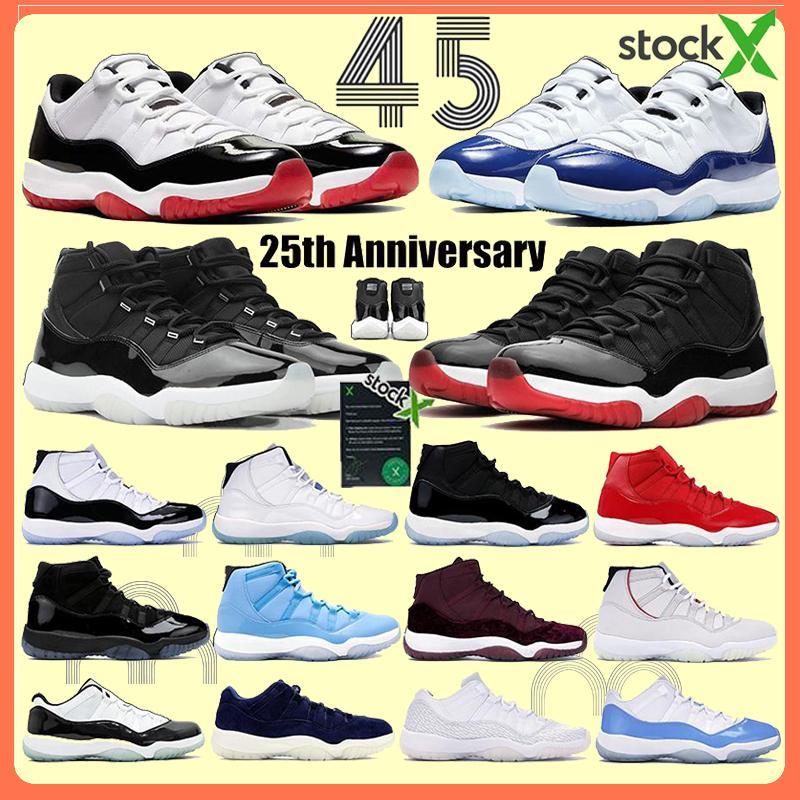 Jumpman 11 11s sapatos de basquete 25º aniversário concord raçam e vestido lenda rosa mulheres corando tênis homens cimento de pele UNC