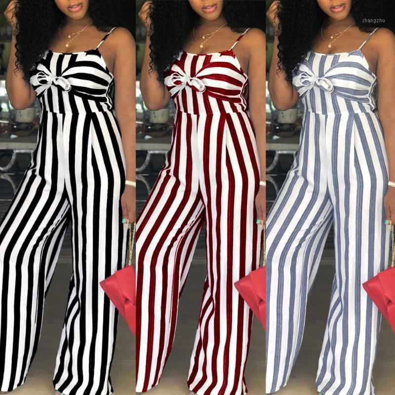Sexy Jumpsuit Women Sleeveless Strap Stripe Rompers Womens Jumpsuits Bowknot Striped Bodysuit Party Clubwear Wide Leg Trousers1
