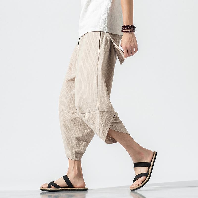 Pantalones para hombres Harem Hombre Verano Vintage Japonés Vintage Rayas Mujeres Hip Hop Plus Size Pierna ancha Bloomers Pantalon1