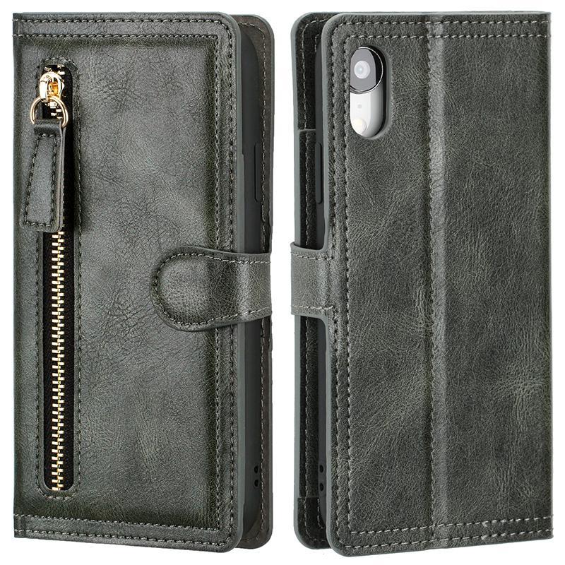 Funda telefónica de cuero con cremallera de billetera para iPhone12Pro XS MAX 11PRO 7 8PLUS XR Tapa del teléfono para Samsung S20 S10Plus Note20