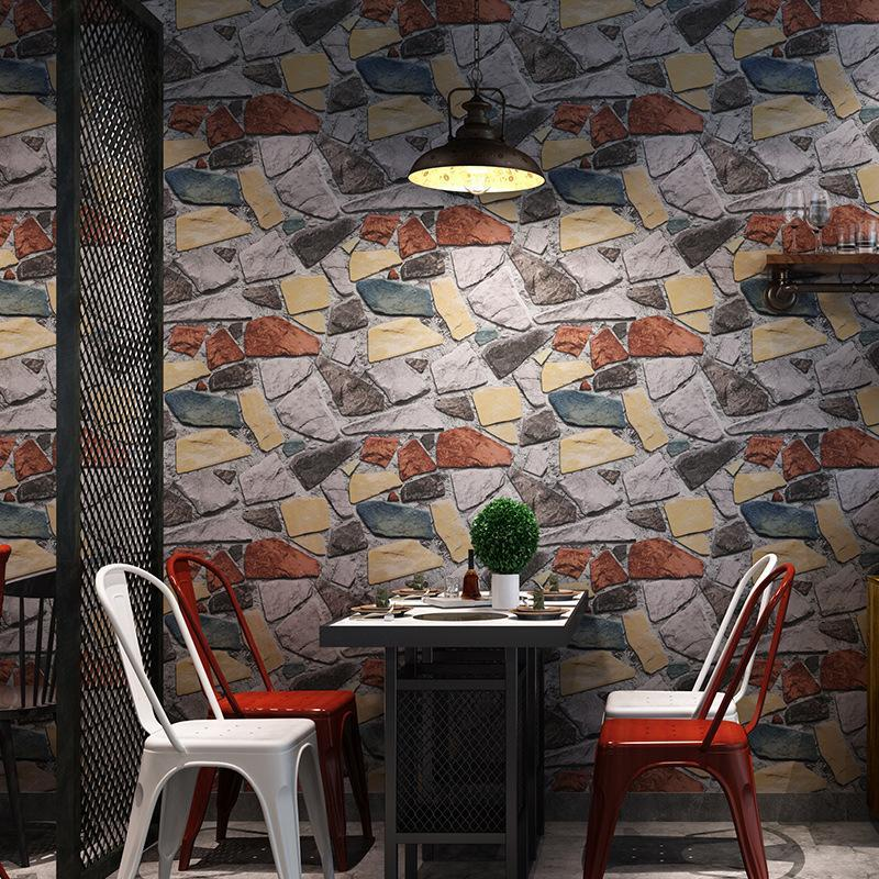 3D solid industrial style imitation stone marble wallpaper retro vintage restaurant barber shop wallpape