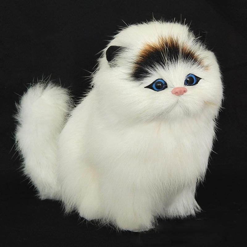 Encantador felpa gato juguetes negro blanco simulación eléctrica animal suave sonido lindo peluche gato muñeca juguetes para niños T200731