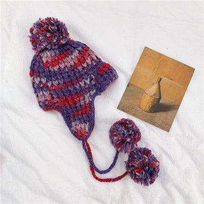 9Ints de queue de queue de queue de queue de queue de queue de queue de queue de cheval croix croix croise décolleté détachable pom pom chapeau hiver tricoter laine décontractée chaude chapeau chapeau o