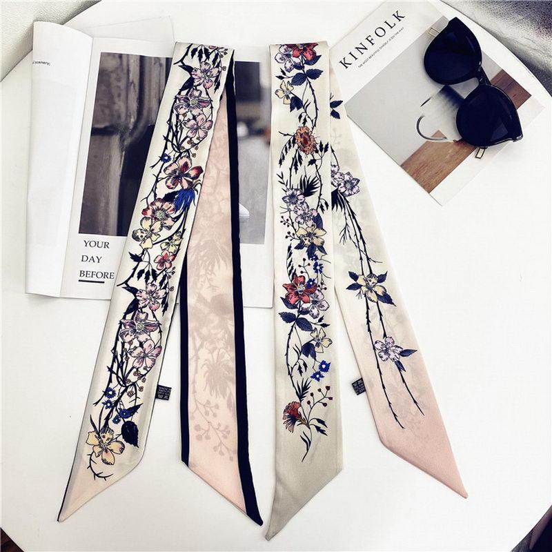 Yeni Ipek Eşarp Çiçek Güzel Kız ve Kadın Çantası Saç Atkılar Yumuşak Yüksek Qualtiy Lüks Tasarımcı Kafa Bant Eşarp