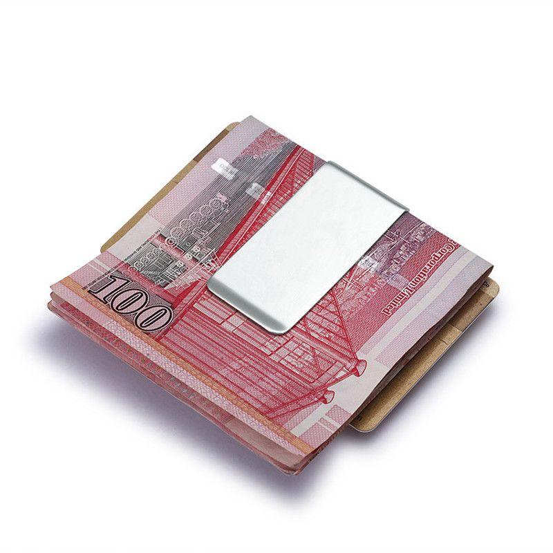 Edelstahl Schlank Third-seitig Männer Frauen Metallgeldklammer Mappen-Kreditkarte Geld-Halter Bill Steel Clip Clamp