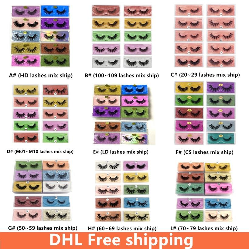 DHL Free Shipping 3D Mink Eyelashes Wholesale 10 styles 3d Mink Lashes Natural Thick Fake Eyelashes Makeup False Lashes Extension In Bulk