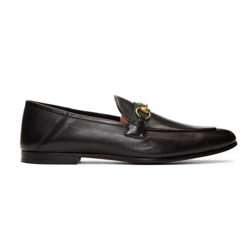 여성 평면 캐주얼 신발 정통 소 가죽 금속 버클 숙녀 신발 가죽 뮬 프린트 타운 남자 Trample 게으른 드레스 신발 큰 크기 35-46