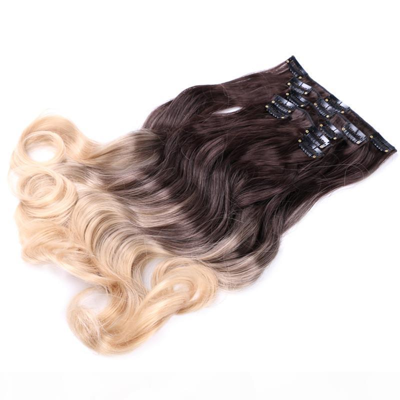 "12 clip in estensione dei capelli Body Wave 22 ""Invisible Hair Destension Clip per le donne Estensioni dei capelli sintetici 130g PC Brown Black Gold Colo"