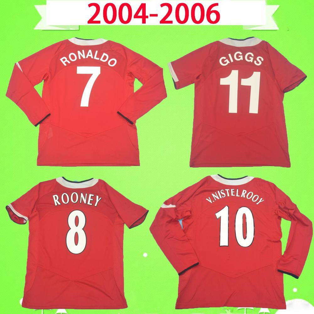 طويلة الأكمام 05 Manchester United soccer jersey man utd 06 RONALDO ضد نيستلروي ROONEY سولسكاير RETRO MANCHESTER 2005 2006 FOOTBALL المتحدة SHIRT خمر كرة القدم جيرسي الأحمر MAN UTD