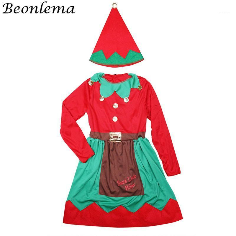 Beonlema Christmas Costume For Girls Kawaii Red Dress Holiday Cosplay Performance Children Clown Role Playing Disfraz S-L1