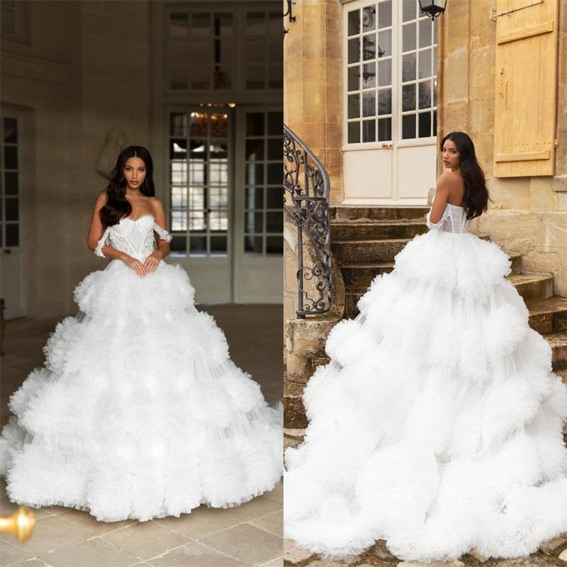 Luxury A-line Wedding Dresses Sexy Off Shoulder Lace Applique Bridal Gowns Ruffles Tiered Tulle Backless Custom Made Vestidos De Novia