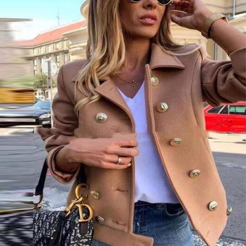 Женская шерстяная смесь женщин шерстяной куртка оба строга подкладка кнопки свободного пальто Созрительный цвет цвет пальто пушистый теплый верхняя одежда короткая