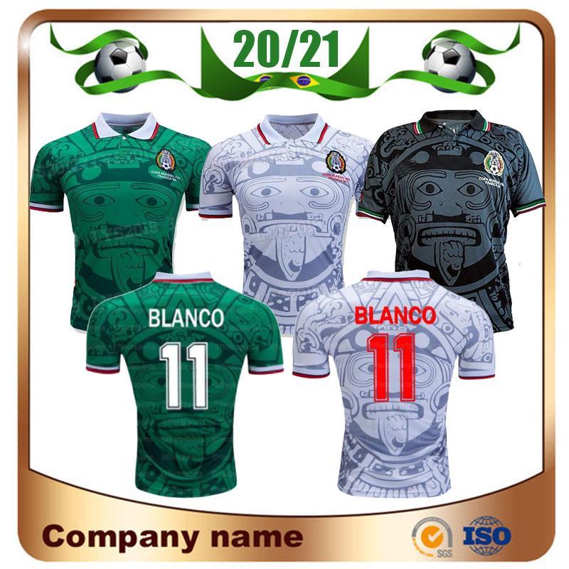 1998 레트로 에디션 멕시코 축구 유니폼 1998 월드컵 축구 셔츠 멕시코 홈 블루 축구 셔츠 멀리 화이트 짧은 소매 축구 유니폼