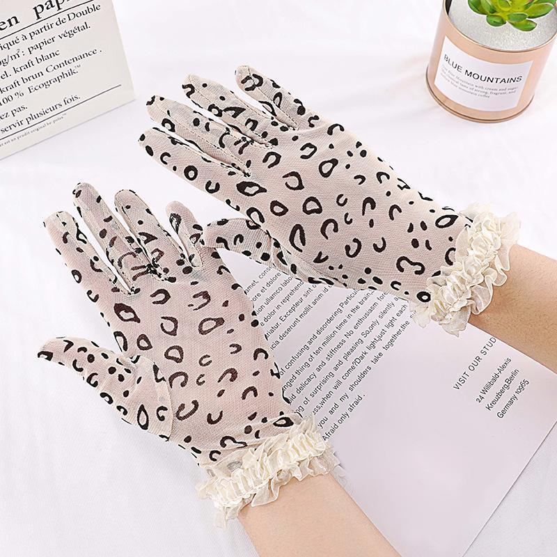 Пять пальцев перчатки женские летние солнцезащитный крем сексуальный леопардовый кружевной тонкий дышащий анти-ультрафиолетовый привод на улице велосипедная эластичность косплей этикет