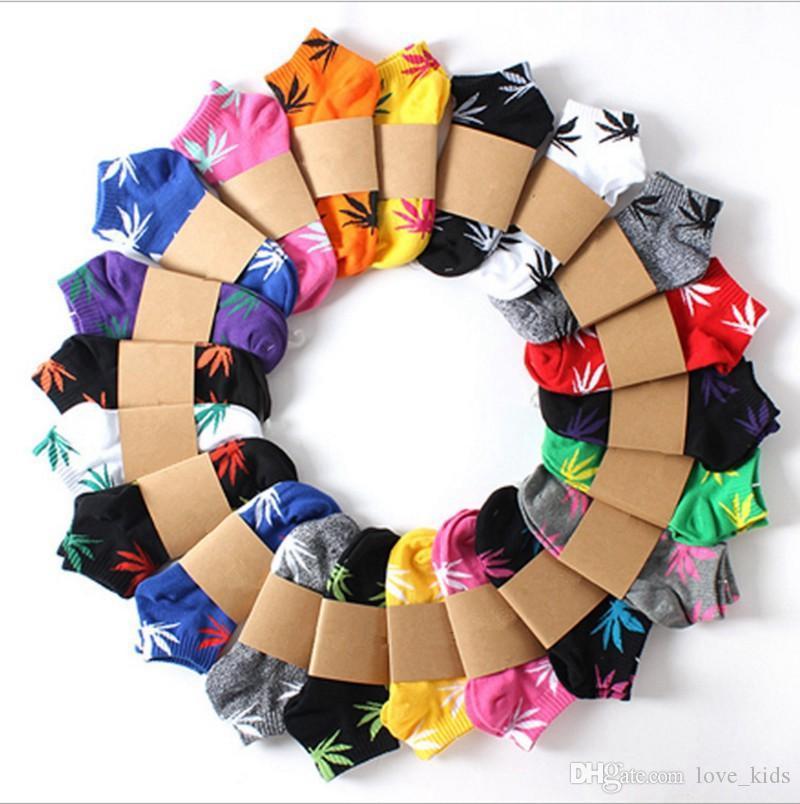 Otoño invierno calcetines hombre mujeres arce hoja estampado calcetines de algodón cortos calcetines de tubo adulto niños calcetín de tobillo color sólido diseño de moda deporte calcetín