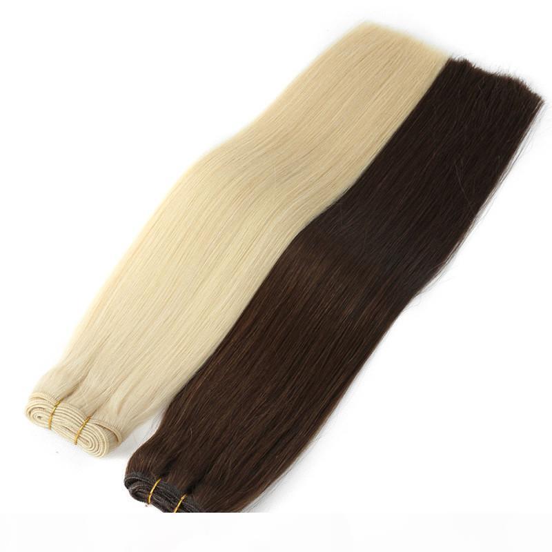 Double Drawn Virgin Human Hair 4 bundles Natural Black & Blonde Color Option Unprocessed Brazilian Straight Human Hair Extensions Cheap Hair