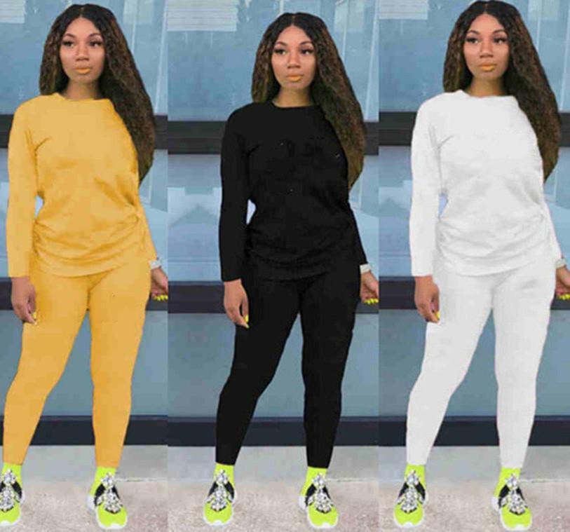 Frauen Fall Winter Sweatsuit 2 Stück Set Hoodies + Hosen Sportanzug Mode Sportswear Crew Neck Tracksuit Brief Anzug 3529