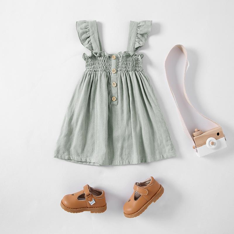 BRG INS High-end Korean Australia Organic Cotton Dresses Ruffles Fly Sleeve Kids Girls Smoking Front Buttons Dress for 0-3T