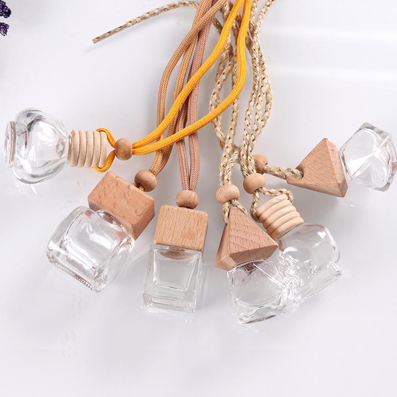 Asılı cam şişe uçucu yağlar için hava spreyi konteyner kristal cam parfüm kolye araba parfüm boş şişe
