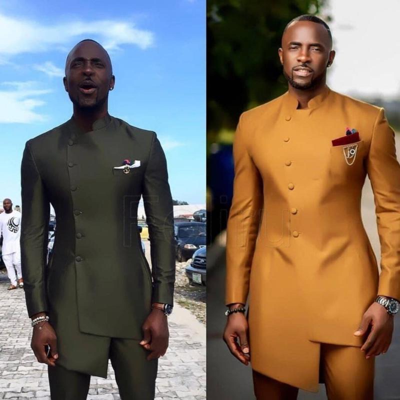 Men's Suits & Blazers African Satin Wedding Suit Clothing Slim Fit Groomsmen Business Wear Formal Tuxedo Bespoke Kaftan 2PCS