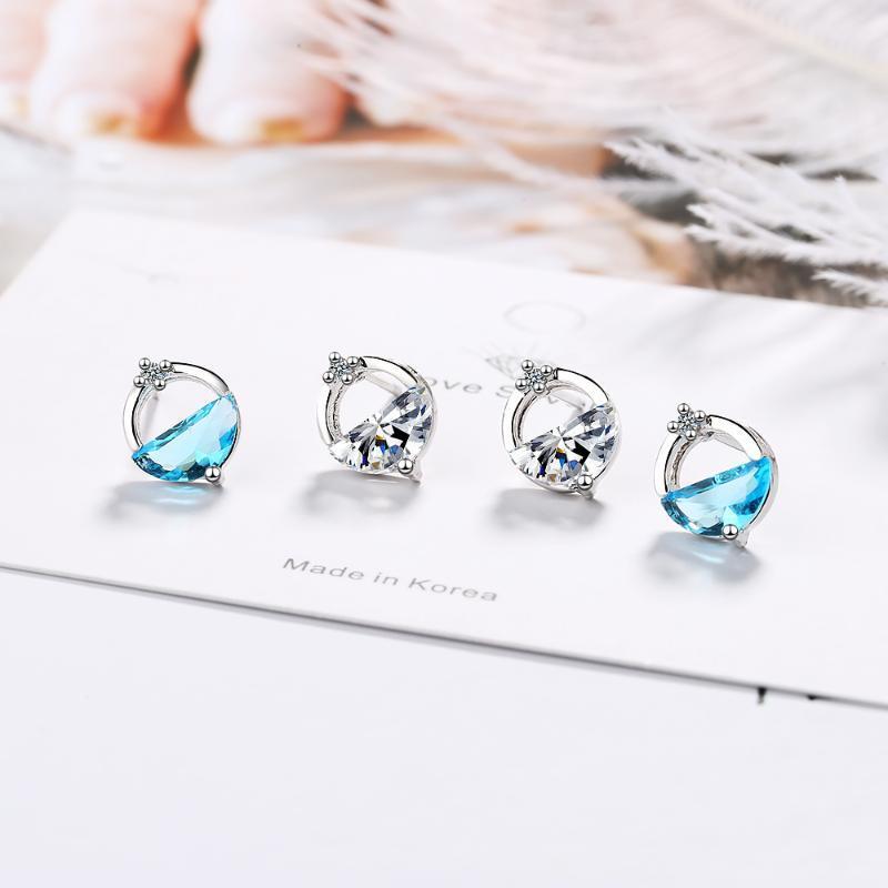 Blue Crystal Round 925 Sterling Silver Stud Pendiente para las mujeres Pequeñas Joyas Chicas Pendientes Kolczyki Oorbellen Aretes