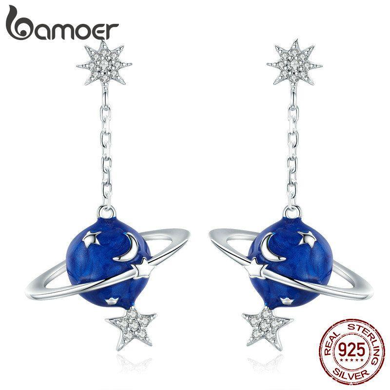 Bamoer 925 Sterling Silber Secret Planet Moon Star Drop Ohrringe Für Frauen Klar Cubic Zirkon Sterling Silber Schmuck BSE016 Y1130