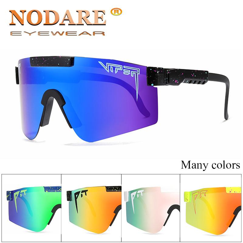 Moda clásica marca espejo verde lente pit viper gafas de sol polarized men Goggle TR90 Frame UV400 Protección con caso