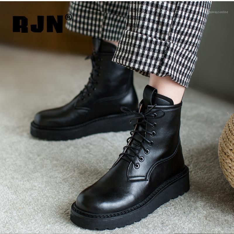 Bottes RJN Casual Cheville Rond Toile Respirable Haute Qualité Véritable En Cuir Véritable Femmes Chaussures Anti-Skid Plateforme RO1761