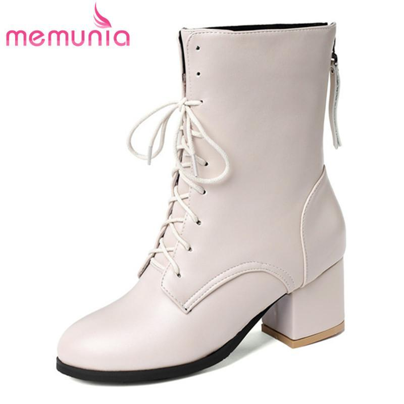 Stivali Memunia 2021 Big Size 45 Donne della caviglia Donne Round Toe Lace Up Zip Square Tacco Autunno Inverno Breve Classic Dress Shoes Shoes Woman