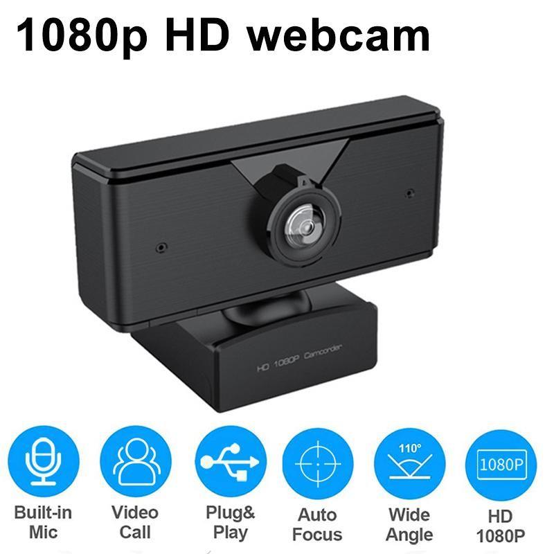 HD 1080P Веб-камера Бесплатный привод USB Встроенный шумоподавление Mic Видео Вызывая Живые потоковые ПК Камера QJY99