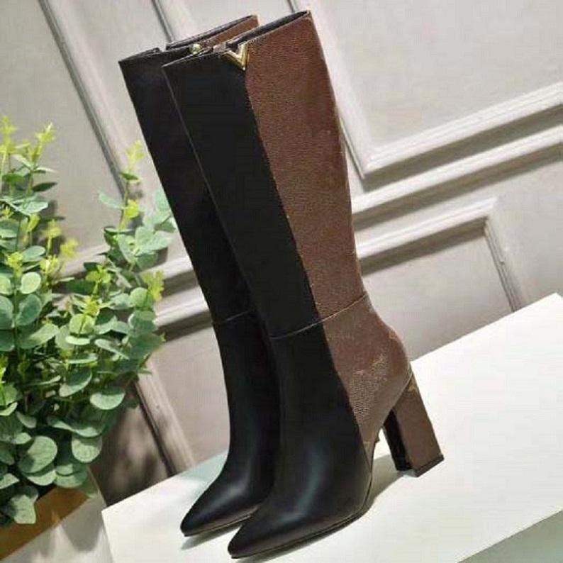 Kadın Kış Çizmeler Moda Klasik Mektup Orijinal Seksi Ince Uzun Tüp Elastik Yün Çorap Bayanlar Sıcak Yumuşak Çorap Çizmeler SH008 L01