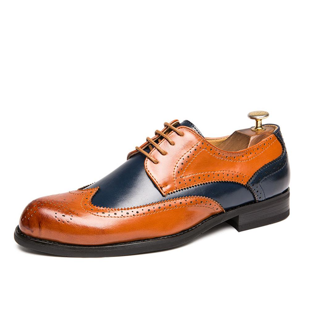Zapatos de vestir para hombre de gran tamaño Cuero tallado Colorido negocio Casual Prom Planeo Cómodo Boda Buena calidad Tamaño 38-47 Dos