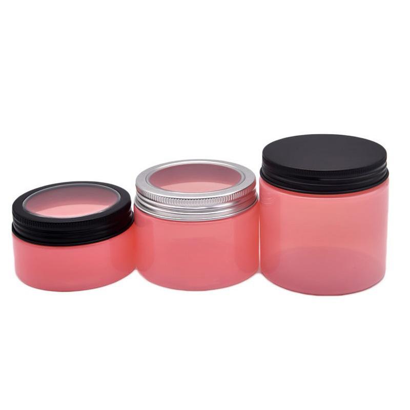 100 150 200 250 мл пластиковые банки Pink Pot Pet Pet Cosmetic JAR для хранения банок круглую бутылку с оконными алюминиевыми крышками для кремовой маски