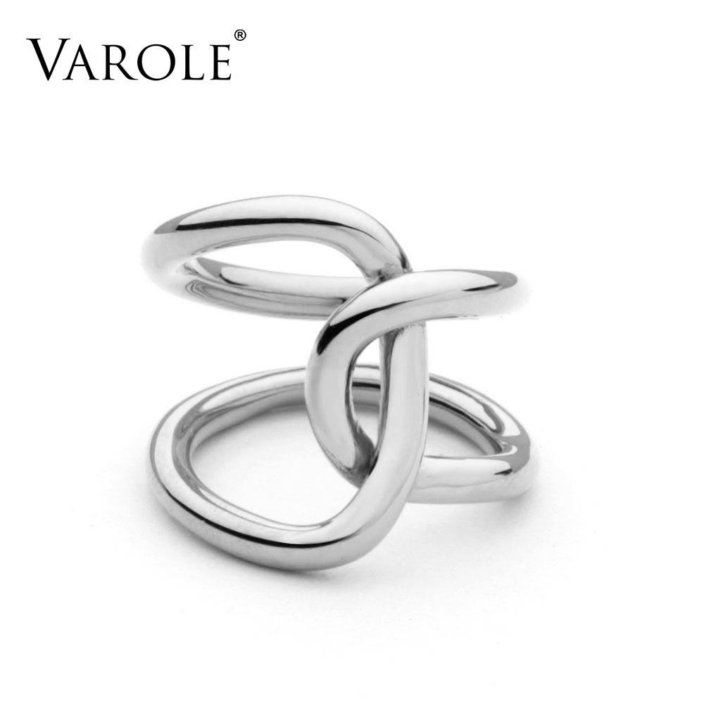 VAROLE High Quality Double Line Cross Gold Color Wedding Rings For Women Ring Anel Jewellery With Retail Packaging Gift