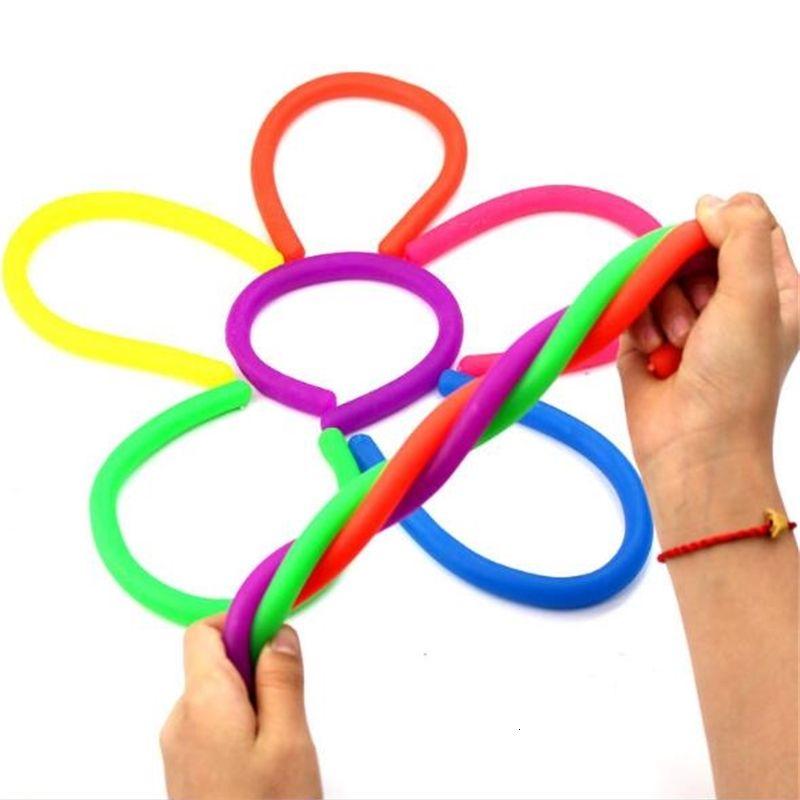6 Cores para Choice Fidget Abraque Corda De Descompressão Corda Flexível Cordas de Noodle Cordas TPR Hyperflex Stretchy String Neon Slings Brinquedos