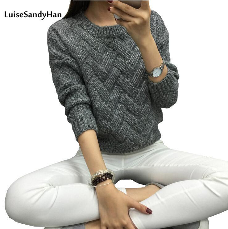 Luisesandyhan 2020 donne pullover femminile casual plaid o-collo manica lunga mohair maglione autunno e inverno stile