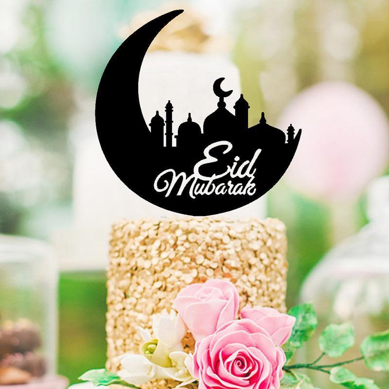 Eid Mubarak Mond Acrylkuchen Topper Muslimischer Islam Ramadan Cake Topper für Ramadan Eid Mubarak Festival Party Dekorationen