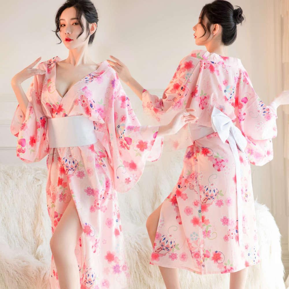 Sous-vêtements Uniforme Allure Japane Hanfu Girls Sexy Longue imprimée Kimono Passion costume