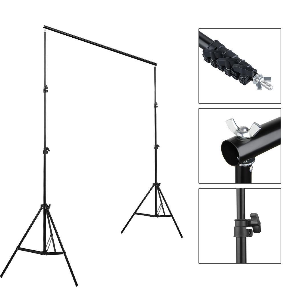 6.6ftx9.8ft Einstellbarer Hintergrund Crossbar Kit 2x3m Fotografie Foto Video-Hintergrund-Stand-Kit für Muslänner Backrops Schwarzer Bestseller